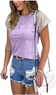 HEFASDM Women Stitch Sequin Glitter Summer Blouse Crew-Neck Tees Top
