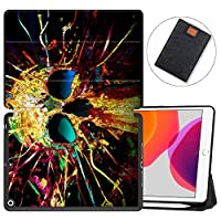 """MAITTAO iPad 10.2"""" 2019 Case with Apple Pencil Holder,Folio Stand Smart Cover Shockproof Soft TPU Back Shell For iPad 7th Generation 10.2 inch Tablet Sleeve Bag 2 in 1 Bundle,Abstract Skeleton 16"""