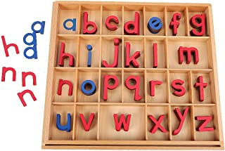 EOFEEL Montessori Wooden Movable Alphabet with Box for Kids Spelling and Learning (Red & Blue)…