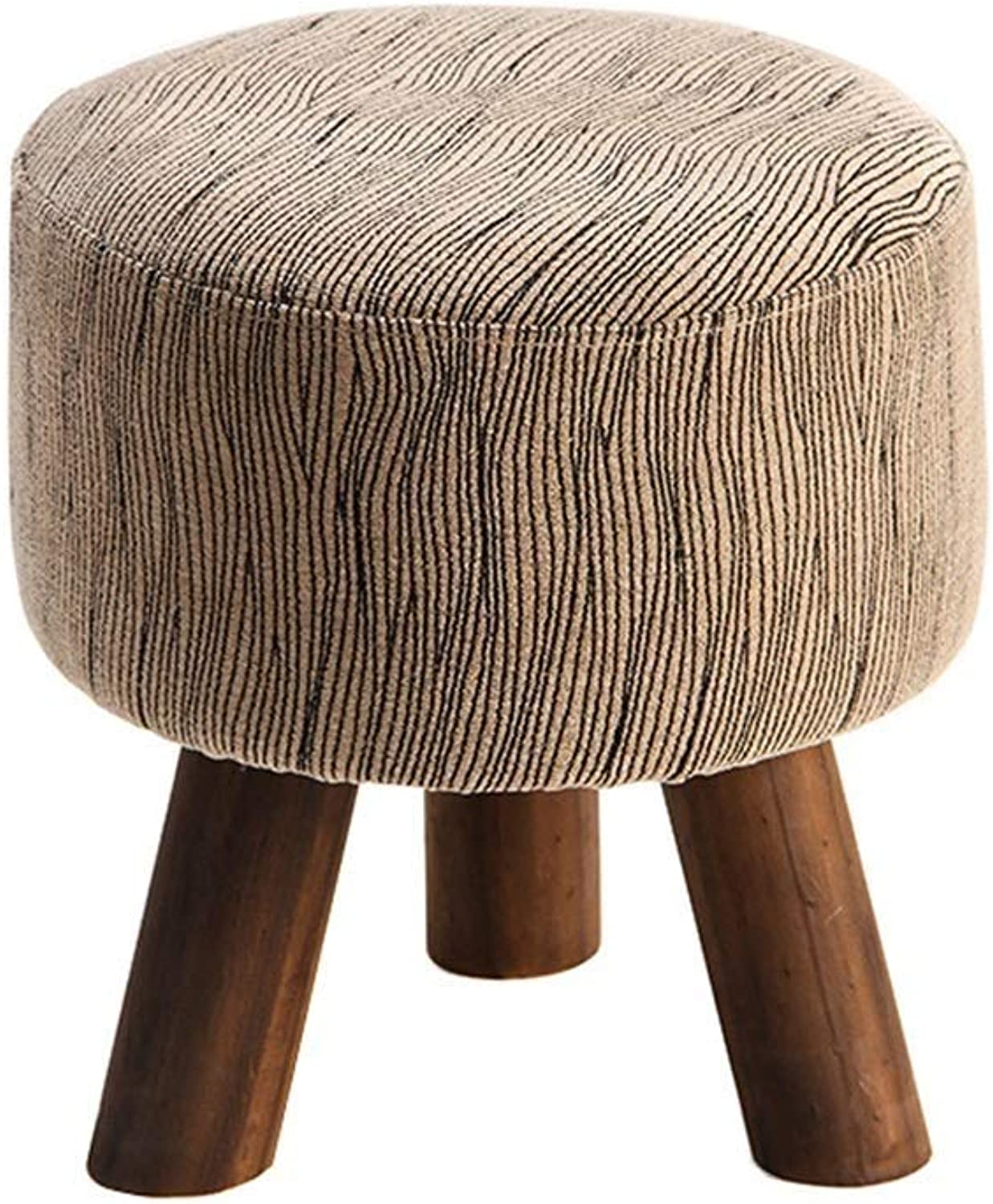 Solid Wood Modern Brown Round Footstool, European Linen Mat, Can Not be Lifted, Home, Restaurant, Bar, Leisure Bar (color    3)