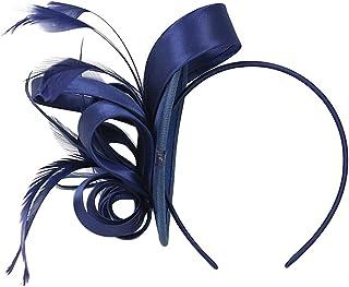perfeclan Diadema de Pelo Nupcial con Plumas Artificiales de Vendimia Tocado Cinta Floral de Cabello Accesorios Disfraces