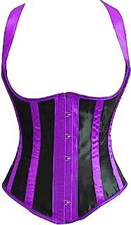 Alivila.Y Fashion Corset Women's Burlesque Lace Corset with G String 831-Purple-M