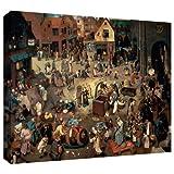 ArtWall Pieter Bruegel 'Fight between Carnival and Lent' ギャラリーラップキャンバスアート 18 x 24インチ