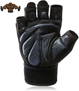 Aigemi Workout Padded Gloves with Wrist Support,Light Microfiber & Anti-Slip Silica Gel Grip Glove for Weight Lifting, Training, Fitness, Bodybuilding and Exercise Men & Women