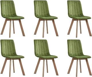 Tidyard Sillas de Comedor Moderno Sillas Cocina Nórdicas 6 Unidades de Terciopelo Verde 45 x 57 x 89 cm
