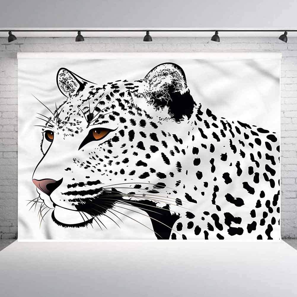 10x10FT Vinyl Photography Backdrop,Tattoo,Leopard Big Cat Spots Photoshoot Props Photo Background Studio Prop