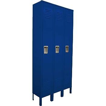 Metal Storage Locker with 3 Door Cabinet Locker for Gym,Home,School 3-Tier Locker Employees Lockers for Office Blue Steel