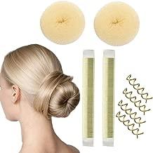 Magic Hair Bun Maker 8 pack Small Hair Buns- 2 Donuts Bun Maker + 2 French Twist Hair Fold Wrap Snap Hair Bun Maker + 4 Spiral Bobby Pins, Essentials for The Perfect Bun Women Girls (Blonde)