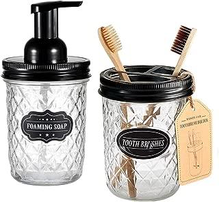 Mason Jar Bathroom Accessories Set - Includes Mason Jar Foaming Hand Soap Dispenser and Toothbrush Holder - Rustic Farmhouse Decor Apothecary Jars Bathroom Countertop and Vanity Organizer (Black)