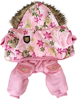 Flower Pattern Hooded Pet Dogs Winter Coat Thickness Dogs Clothes S to XL New Dogs Clothing