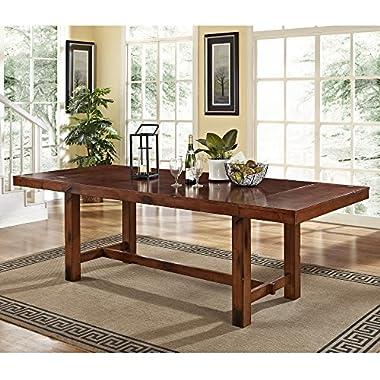 Walker Edison 96  Solid Wood Dark Oak Dining Table
