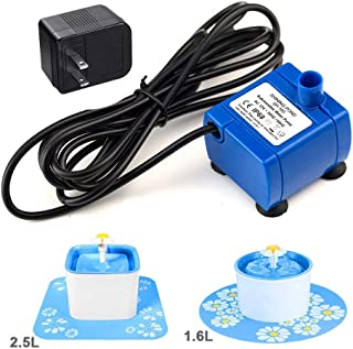 Happypapa Pet Water Fountain Pump Replacement Cat Fountain Replacement Pump for Flower Fountain 1.6L/2.5L Automatic Pet Water Dispenser Replacement Pump Come with Adapter