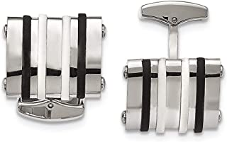 Lex & Lu Chisel Stainless Steel Black/White Rubber Bands Rectangle Cuff Links