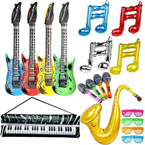 18 Stück Inflatables Gitarre Saxophon Mikrofon Elektronische Orgel Shutter Shading Gläser Musiknotenballon, Aufblasbare Rockstar Set, Musikinstrumente Zubehör für Party Supplies Party Favors Ballons