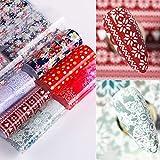 BLOUR 8 unids/Set Copo de Nieve de Navidad Flor de Papel de uñas Arte Brillante Pegatina de Transferencia calcomanías Deslizador Nueva Serie decoración de manicura de uñas