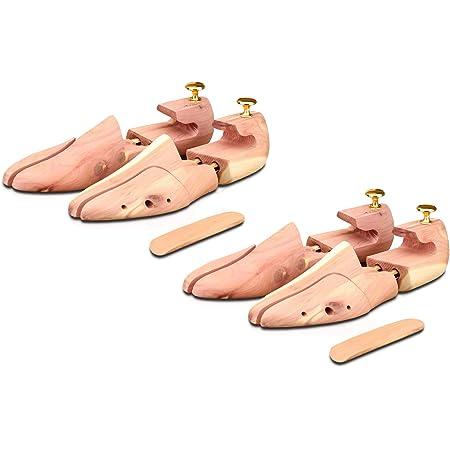 Langer & Messmer 2 paires embauchoirs en bois de cèdre (pour hommes et femmes), chausse-pied en bois de cèdre compris, pointures double taille 44/45, l´original