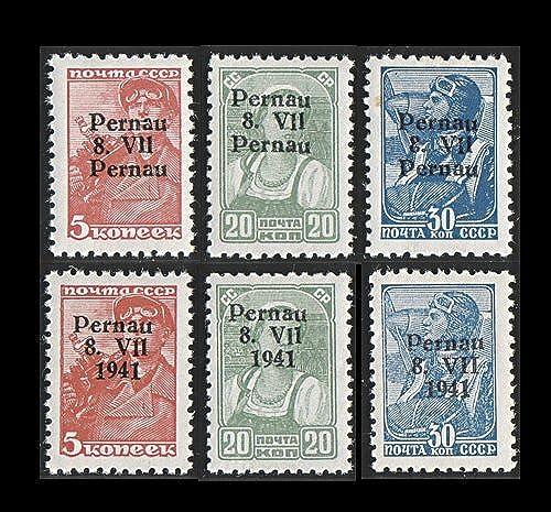 Goldhahn Deutsche Besetzung Estland Pernau Nr. Nr. 5 IV, 8IV, 9IV postfrisch  geprüft und signiert Krischke Briefmarken für Sammler