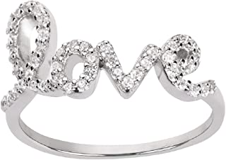 CloseoutWarehouse Cubic Zirconia Love in Script Ring Sterling Silver (Color Options, Sizes 3-15)