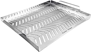 Grill Pan, Grill Topper Stainless Steel Charcoal Gas Grill Accessories BBQ Grill Wok with Handles for Vegetables Meat Gril...