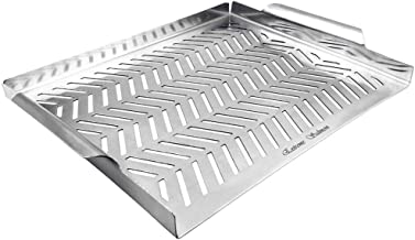 Extreme Salmon BBQ Grill Pan for Vegetables, Grill Topper Stainless Steel BBQ Grill Wok with Handles Professional Grill Cookware Grill Accessories for Barbecue Grills Outdoor Cooking