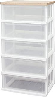 アイリスオーヤマ チェスト 木天板 5段 幅55.6×奥行41×高さ101.8cm フレンチオーク プラスチック WTW-545