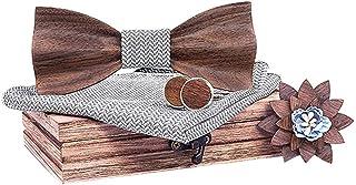 Herren Fliege mit Einstecktuch Brosche und Manschettenkn/öpfe Set L/ässige Massivholz Umweltschutz Holzfliege Wood Fliege f/ür Hochzeiten Partei zum Anzug Jungen Solide Krawatte Tolles Geschenk