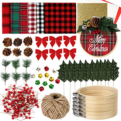 Pllieay 6 Pack of Christmas Ornament DIY Craft Kit Includes Christmas Plaid Fabric, Bamboo Hoop, Mini Pinecones, Artificial Pine Needle, Artificial Small Berrie, Jingle Bells for Christmas Decoration
