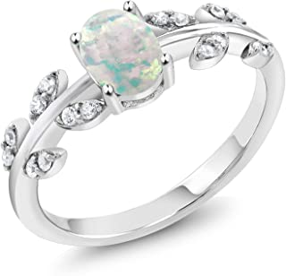 Gem Stone King 925 Sterling Silver White Simulated Opal Olive Vine Women's Ring (0.84 Cttw Oval Cabochon Cut Available 5,6...