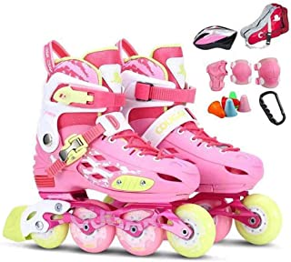 Profession Kids Roller Skates,Outdoor Wear Resistant Anti-Impact Artistic Roller Skates,Adjustable Pink,Combination,M