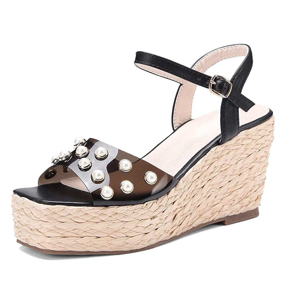 Cenglings Womens Wedge Sandals, Open Toe Wedges Pearls Bead Platform Sandals Ankle Strap Beach Shoes Roman Sandal