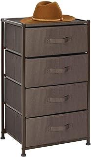 mDesign commode – meuble tiroir avec structure en métal et quatre tiroirs en tissu – commode tiroirs pratique pour la cham...