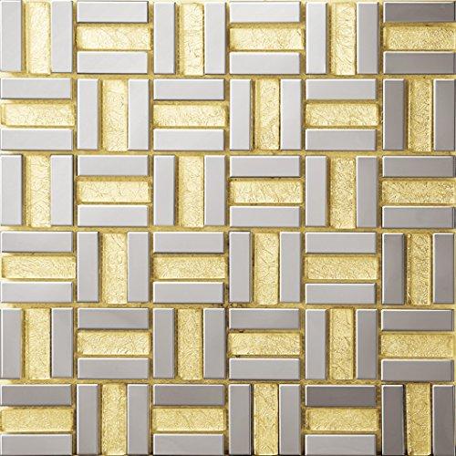 Stile moderno Mosaico a colori misti Vetro e acciaio inox mosaico mattonelle arte della parete In particolare modello 300*300mm--Cucina Backsplash/Parete da bagno/decorazione domestica(SA015-11/15)