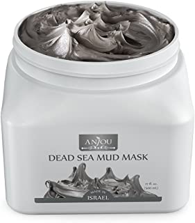 Anjou Dead Sea Mud Mask, Made in Israel, Deep Pore Cleansing and Detoxifying for Face and Body, 100 Natural Mineral-Rich Mask 17oz 500mL