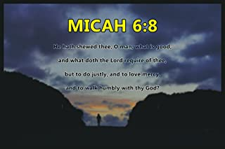 Decals Home Decor & More Christian Poster Bible Verse Micah 6:8 Walking Sunset | 18-Inches By 12-Inches | Motivational Inspirational Educational Religious | Premium 100lb Gloss Poster Paper | JSC685