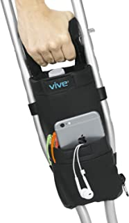 Vive Crutch Pouch – Bag with Foam Hand Grip Pads – Tote for Broken Leg..