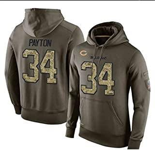 Dunbrooke Apparel Chicago Bears #34 Payton Olive Collection Fade Out Pullover Hoodie