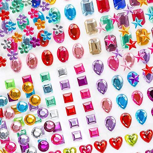 BAKHK 9 Blätter 390 Selbstklebenden Strasssteine Glitzersteine zum Aufkleben Schmucksteine Aufkleber für Kinder Handwerke, Fotorahmen, Grußkarten, in Verschiedenen Größen