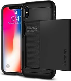 【Spigen】 iPhone XS ケース/iPhone X ケース 5.8インチ 対応 米軍MIL規格取得 耐衝撃 IC カード収納 スリム・アーマー CS 057CS22155 (ブラック)