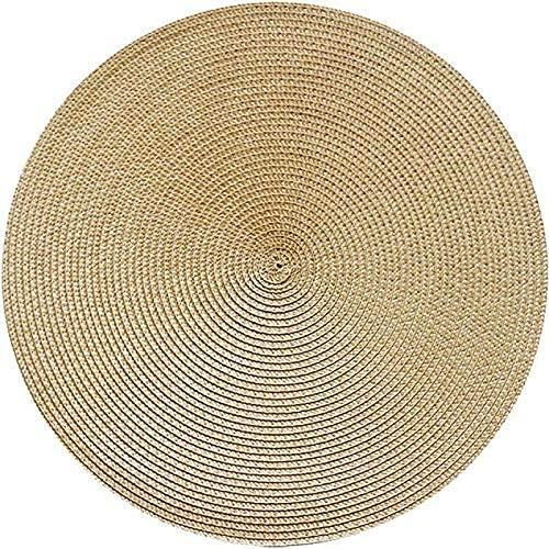 1 unid ronda de tejido de mesa de comedor de mesa de comedor, servilleta, cuenco, taza, bebida, taza, posavasos, decoración de decoración de cocina, oro, redondo DAKSL (Color : Gold, Size : Round)