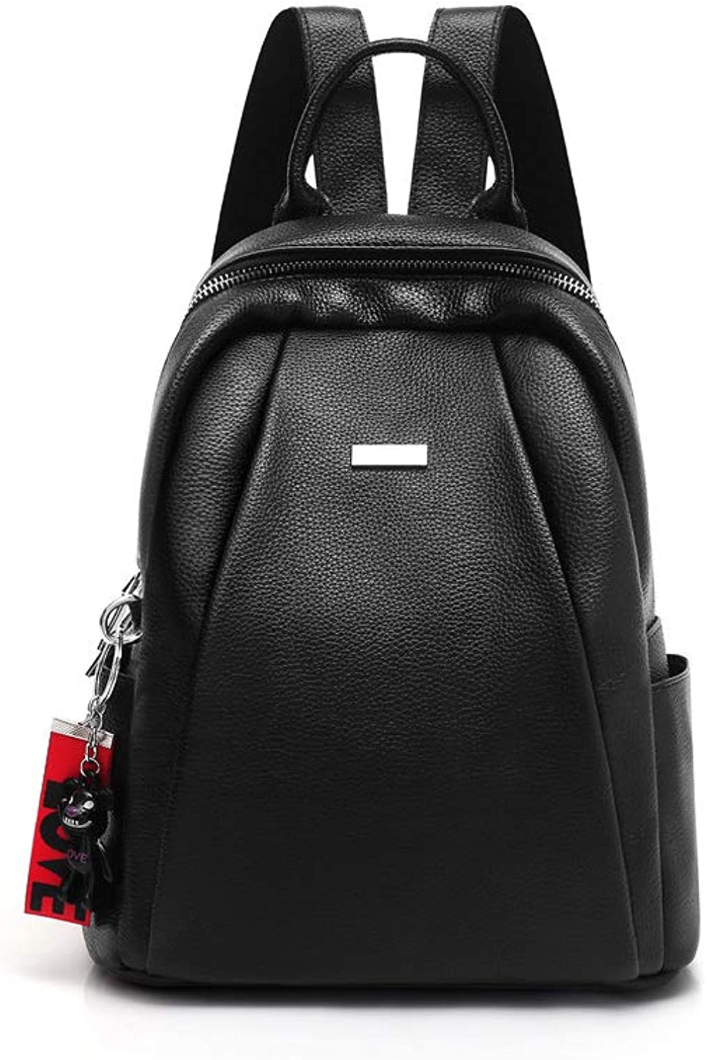 ZHICHUANG Girls Multifunctional Backpack for Daily Travel Tourism School Work Fashion Leisure. Black red, PU Leather, Simple and Large Capacity for Women & Men