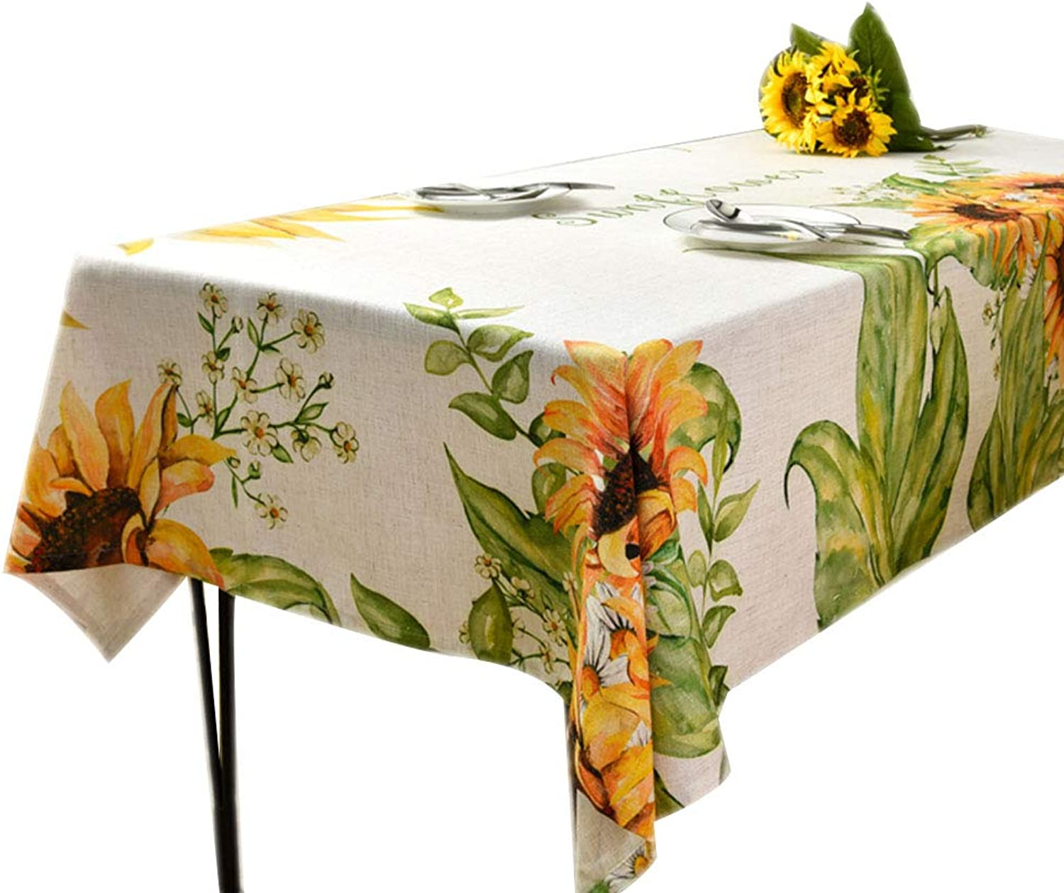 Z-one Tournesol Imprimé Nappe de Table Rectangle, Coton Lin Anti poussière Lavable à Manger Nappe Prougeection pour Coffee Table Cuisine -A 130x220cm(51x87inch)