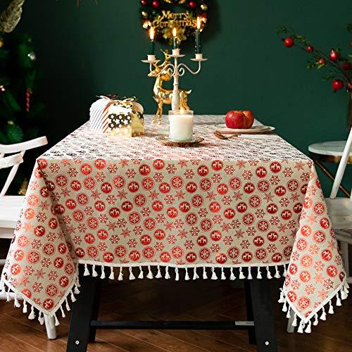 Carvapet Tovaglia Rettangolare Tovaglia Lino di Cotone Nappa Natale Tovaglie per Cucina Tavolo da...