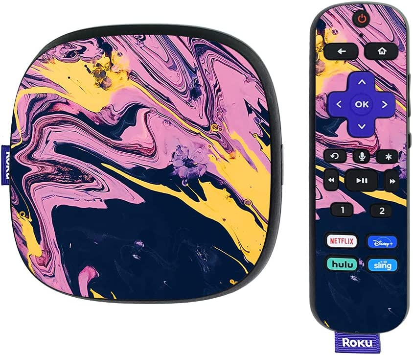 MightySkins Skin Compatible with Roku Ultra HDR 4K Streaming Media Player (2020) - Pink Wiggle   Protective, Durable, and Unique Vinyl Decal wrap Cover   Easy to Apply   Made in The USA