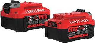 CRAFTSMAN V20 Lithium Ion Battery, 4.0-Amp Hour, 2 Pack (CMCB204-2)