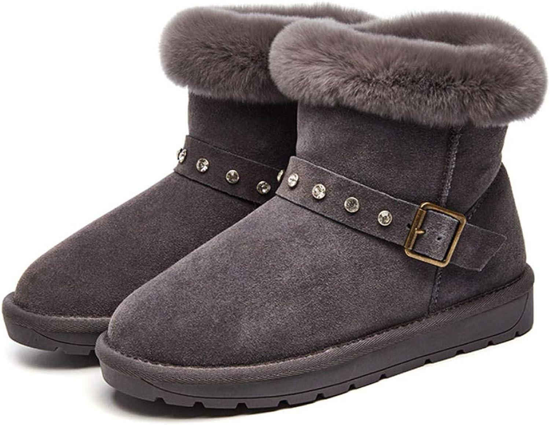 DANDANJIE Frauen Winter Schnee Stiefel Mode Flache Ferse Stiefelies Ankle Stiefel Rutschfeste warme Schuhe