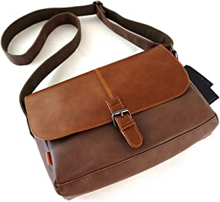 Men Messenger Bag Made of PU Leather, Shoulder Bag Briefcase Waterproof,Orange