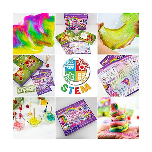 Playz Unicorn Slime & Crystals Science Kit Gift for Girls & Boys with 50+ STEM Experiments to Make Glow in The Dark Unicorn Poop, Snot, Fluffy Slime, Crystals, Putty, Arts & Crafts for Kids Age 8-12 4