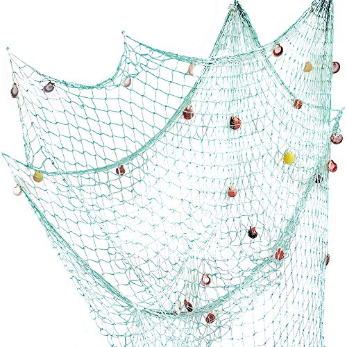 Nature Fish Net Wall Decoration with Shells, Ocean Themed Wall Hangings Fishing Net Party Decor for Pirate Party,Wedding,Photographing Decoration (Aqua)
