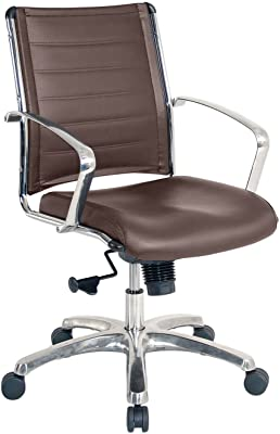 Eurotech Seating Europa Leather Mid Back Chair, Brown
