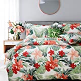 FADFAY Tropical Red Hibiscus Palm Leaves Duvet Cover Set Super Soft Summer...